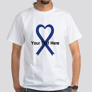 Personalized Dark Blue Ribbon Heart White T-Shirt