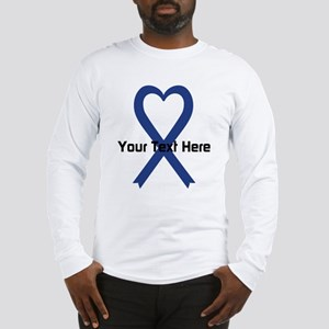 Personalized Dark Blue Ribbon Long Sleeve T-Shirt
