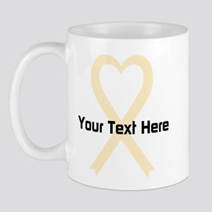 Personalized Cream Ribbon Heart Mug