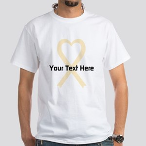 Personalized Cream Ribbon Heart White T-Shirt