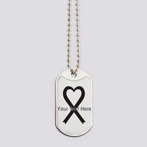 Personalized Black Ribbon Heart Dog Tags