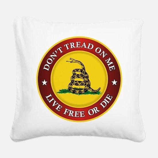 DTOM Gadsden Flag (logo) Square Canvas Pillow