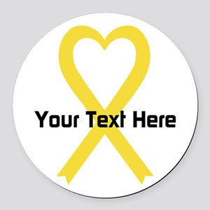 Personalized Yellow Ribbon Heart Round Car Magnet