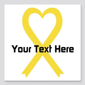 """Personalized Yellow Ribb Square Car Magnet 3"""" x 3"""""""
