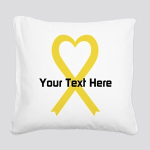 Personalized Yellow Ribbon He Square Canvas Pillow