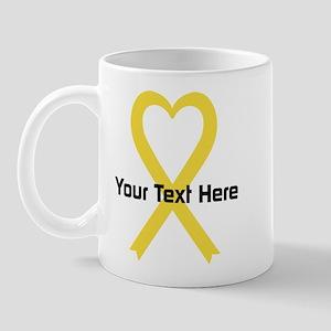 Personalized Yellow Ribbon Heart Mug