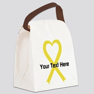 Personalized Yellow Ribbon Heart Canvas Lunch Bag