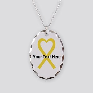 Personalized Yellow Ribbon Hea Necklace Oval Charm