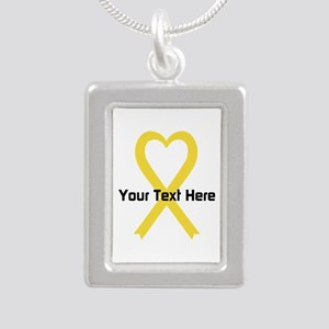 Personalized Yellow Ribb Silver Portrait Necklace