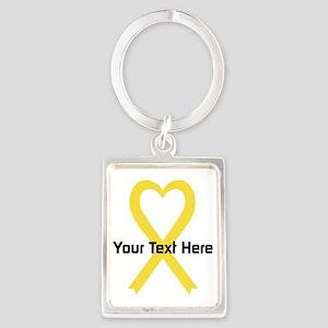 Personalized Yellow Ribbon Heart Portrait Keychain