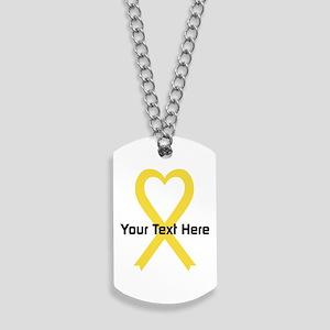 Personalized Yellow Ribbon Heart Dog Tags