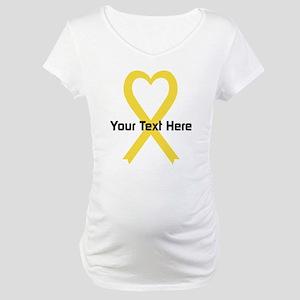 Personalized Yellow Ribbon Heart Maternity T-Shirt