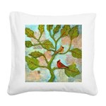 Cardinal Love Notes Square Canvas Pillow