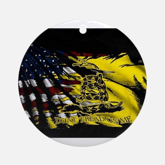 gadsden_kitchen towel Ornament (Round)