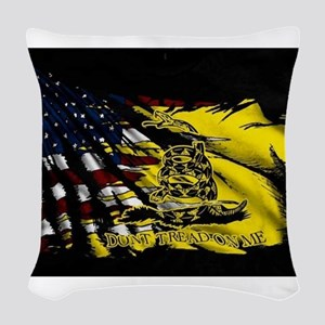 gadsden_kitchen towel Woven Throw Pillow