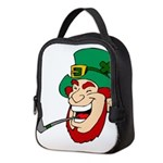Laughing Leprechaun with Pipe Neoprene Lunch Bag