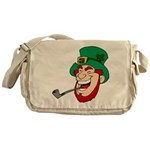 Laughing Leprechaun with Pipe Messenger Bag