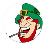 Laughing Leprechaun with Pipe Round Car Magnet