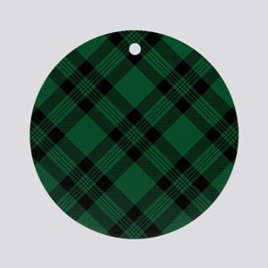 Green Plaid Pattern Ornament (Round)