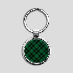 Green Plaid Pattern Keychains