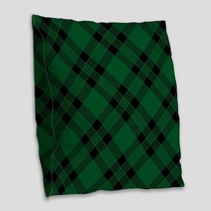 Green Plaid Pattern Burlap Throw Pillow
