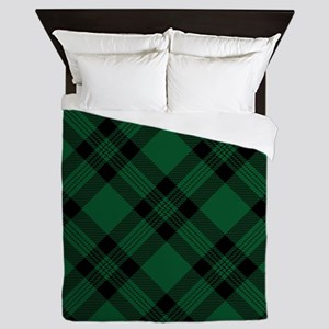Green Plaid Pattern Queen Duvet