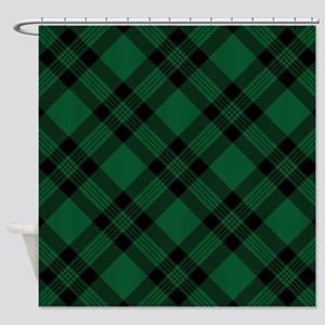 Green Plaid Pattern Shower Curtain