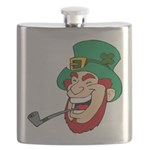 Laughing Leprechaun with Pipe Flask