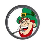 Laughing Leprechaun with Pipe Wall Clock