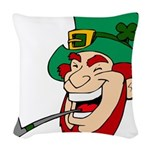 Laughing Leprechaun with Pipe Woven Throw Pillow