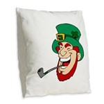 Laughing Leprechaun with Pipe Burlap Throw Pillow