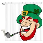Laughing Leprechaun with Pipe Shower Curtain