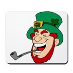 Laughing Leprechaun with Pipe Mousepad