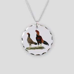 Aseel Wheaten Chickens Necklace Circle Charm