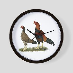 Aseel Wheaten Chickens Wall Clock