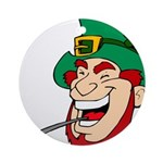 Laughing Leprechaun with Pipe Ornament (Round)