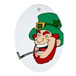 Laughing Leprechaun with Pipe Ornament (Oval)
