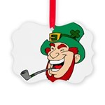 Laughing Leprechaun with Pipe Ornament