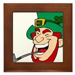 Laughing Leprechaun with Pipe Framed Tile