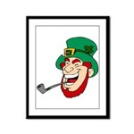 Laughing Leprechaun with Pipe Framed Panel Print