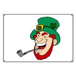 Laughing Leprechaun with Pipe Banner