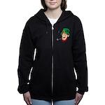 Laughing Leprechaun with Pipe Zip Hoodie