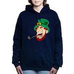 Laughing Leprechaun with Pipe Hooded Sweatshirt