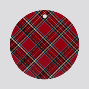 Red Plaid Pattern Ornament (Round)