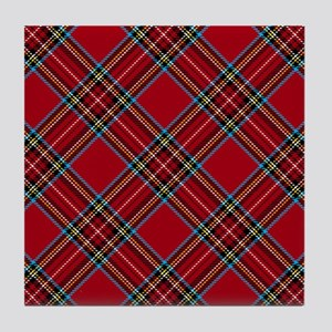 Red Plaid Pattern Tile Coaster