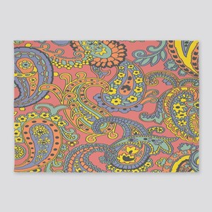 Colorful Paisley 5'x7'Area Rug