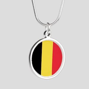 Belgium Flag Silver Round Necklace
