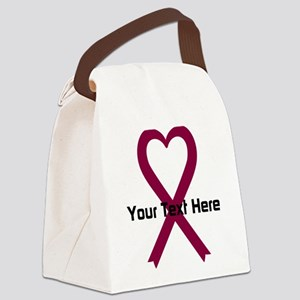 Personalized Burgundy Ribbon Hear Canvas Lunch Bag