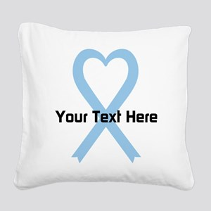Personalized Light Blue Ribbo Square Canvas Pillow