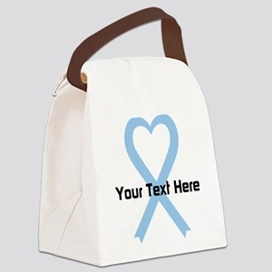 Personalized Light Blue Ribbon He Canvas Lunch Bag